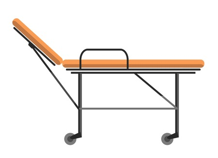 gurney: Gurney wheeled stretcher used for transporting hospital patients isolated on white vector illustration. Professional urgency medical bedstead, transportation bed for disabled patients in flat style