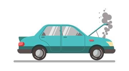 Crashed blue car with open hood, vector illustration isolated Reklamní fotografie - 76085475