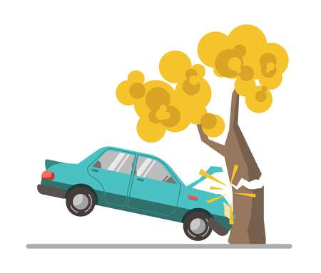 colors: Car crash accident in tree flat vector illustration