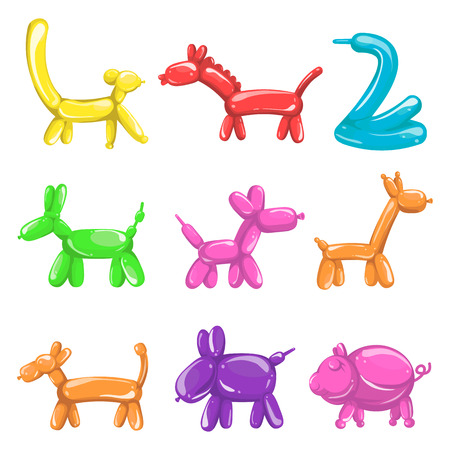 Animal figures made of balloons poster on white