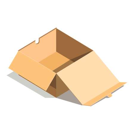 white background: Empty paper open cardboard box isolated on white background vector illustration. Delivery shipping package, square empty container, carton store package in flat design. Compact blank parcel Illustration