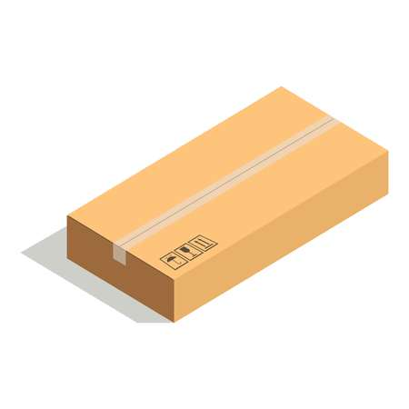 posted: Closed paper cardboard box isolated on white background vector illustration. Delivery shipping package, square packed container, carton store package in flat design. Compact posted parcel Illustration