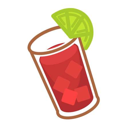 Bloody Mary with ice and slice of lime in glass Illustration