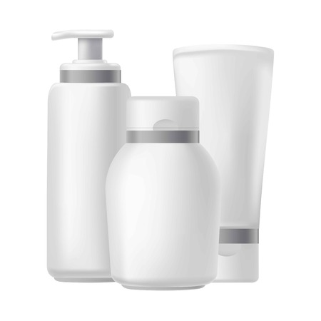 healthy body: Blank three beauty hygiene containers isolated on white