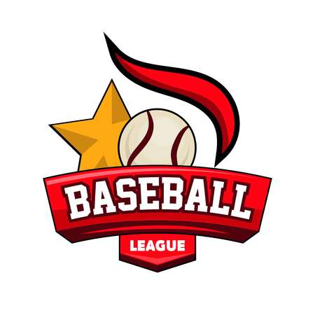Baseball league logotype with ball, star and firing element