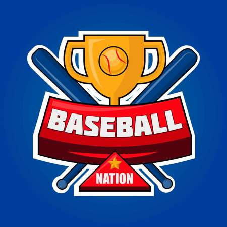 competitions: Baseball nation logotype with golden cup and crossed bats vector