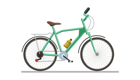 Bicycle with drinking flask isolated on white vector illustration. Illustration