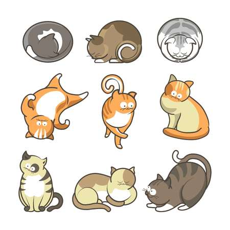 Cartoon cats in various positions set on white