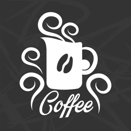 business card template: Coffee logo design with mug silhouette and grain sign Illustration