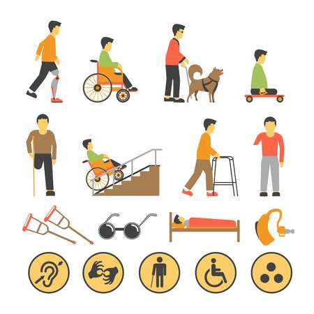 help: Disabled people and necessary equipments with signs poster