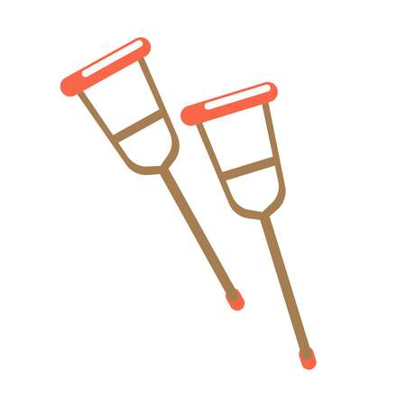 Pair of crutches isolated on white vector illustration. Long sticks Illustration