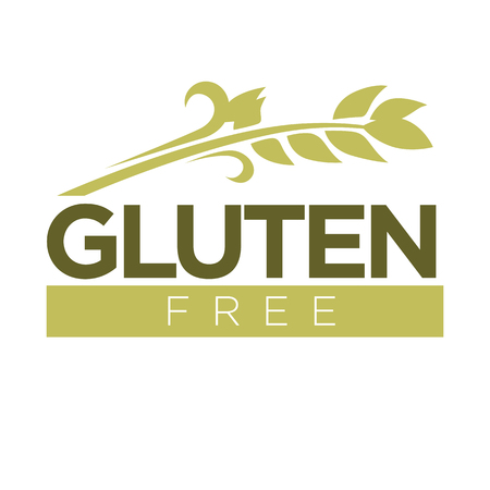 Gluten free in cereal grains logo. Dough without harmful substances
