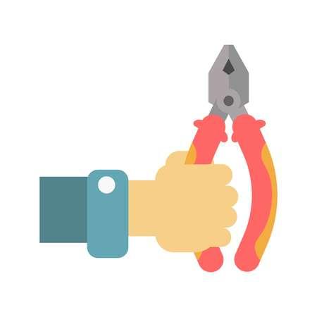 Flach-Zange in der menschlichen Hand Vektor-Illustration isoliert auf weiß Standard-Bild - 76085990