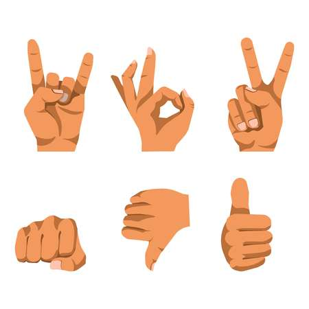 communication: Nonverbal communication style using hand gesturing poster on white. Body language of fingers in various sign positions having some meanings. Speech without words template vector flat banner.