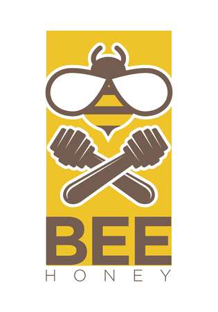 Bee honey logo design with two crossed dippers and insect isolated on white. Organic sweet mead and wooden stick vector illustration. Advertising label for honeymead production of healthy substance