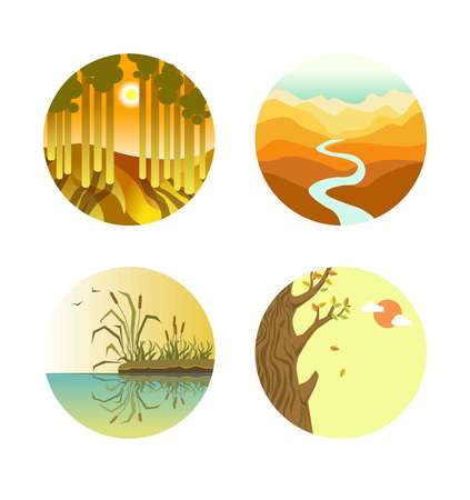 leaf: Landscape icons colorful flat vector poster on white. Four round labels of sunset in forest with tall trees, long thin river in desert, reed mace growing on beach and wood with falling leaves