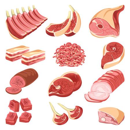 origen animal: La carne fresca corta la colección colorida del vector en diseño plano en blanco. Carta de surtido de alimentos crudos y cocinados de origen animal, trozos para barbacoa, pila de pechuga, carne o cerdo ahumado o horneado.