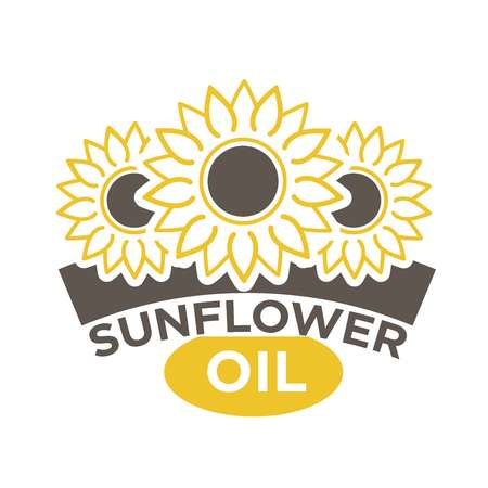 Sunflower oil label with yellow flower with black dieting seeds, sticker design. Natural organic sunseed logotype vector illustration on white. Best quality eco condiment label or advertising banner.