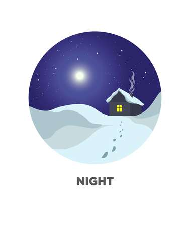 winter scenery: Night round web button with winter scenery landscape, rural house Illustration