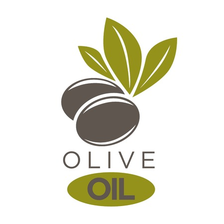 Vector illustration of company label black olivic berries with leaves