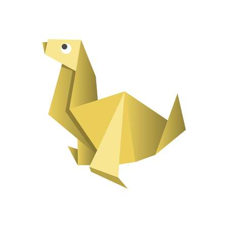 cute dog: Paper origami dog isolated on white vector picture
