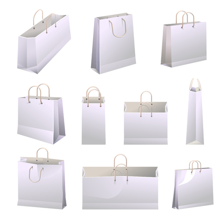 Paper shopping bags with handles collections on white. Vector poster