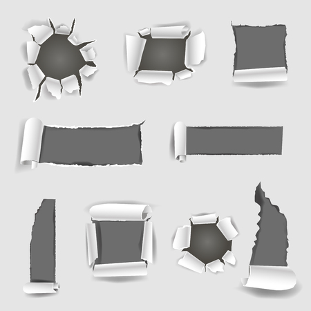 design elements: Paper sheet with grey torn holes in round, square, rectangular shapes vector flat illustration. Colorless picture of damaged leaf with many scratches. Cardboard destructions template poster.