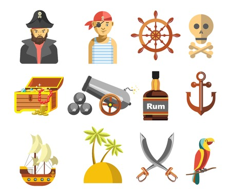 box: Pirate colorful symbols on white vector flat poster Illustration