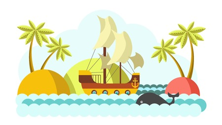 Pirates boat with sail in sea vector colorful illustration Illustration
