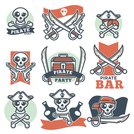 box: Pirate spirit logo emblems vector poster on white