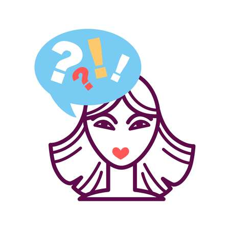Woman portrait icon with speech bubble, question and exclamation mark Illustration