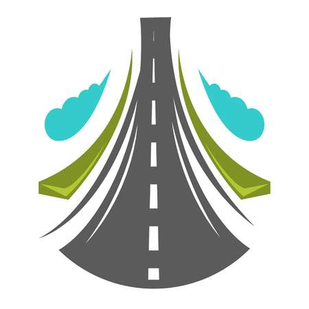 Road going straight high, greenery on both side and cloud Illustration