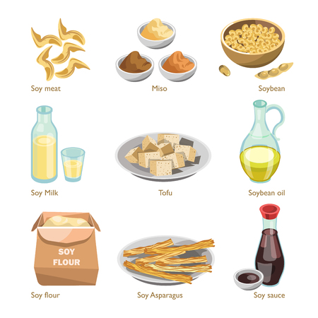 Soy containing products vector colorful poster on white Illustration