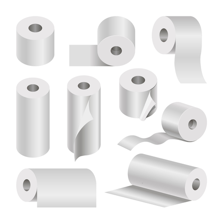 cleanliness: Realistic rolled toilet and towel paper poster on white Illustration