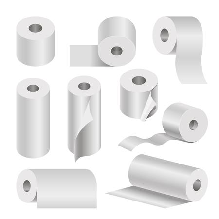Realistico rollato toilette e tovagliolo carta poster su bianco Vettoriali