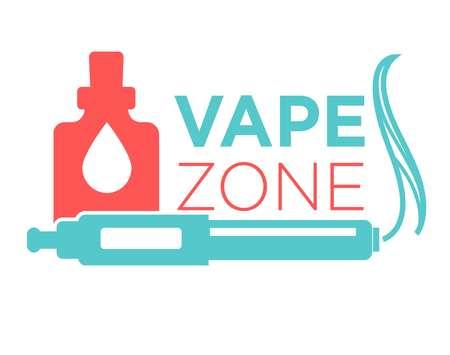 Vape zone start vaping logo design isolated on white. Vape e-cigarette emblem vector illustration. Professional vapeshop logotype label sticker. Electronic cigarette for store advert, smoking concept