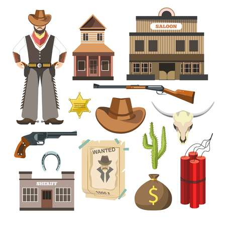 types of cactus: Cowboy template vector flat colorful sign symbols poster on white. Set of man in special clothes, saloon building, long weapons types, cactus plant, bag with money, wanted list and sheriff emblem