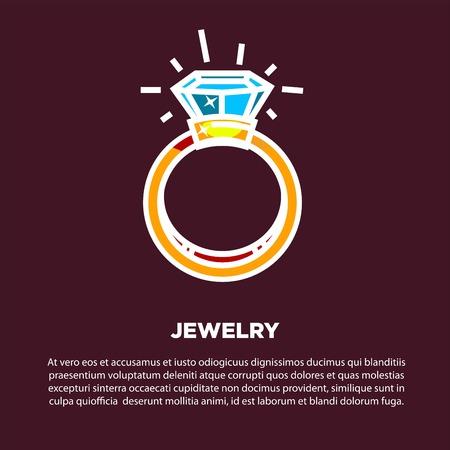 web site design template: Jewelry golden diamond wedding ring vector poster Illustration