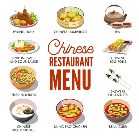 fried noodles: Chinese restaurant menu cover vector template design