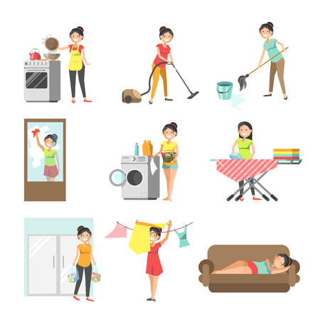 bedclothes: Housewives at work washing, cleaning, cooking vector flat icons
