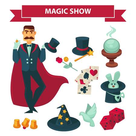 Circus magician man with magic show vector accessories