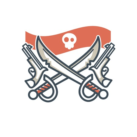 Jolly Roger pirate vector icon flag skull and crossed sabers