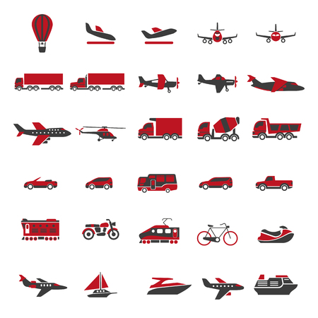 freight train: Transport and vehicles vector flat isolated icons set