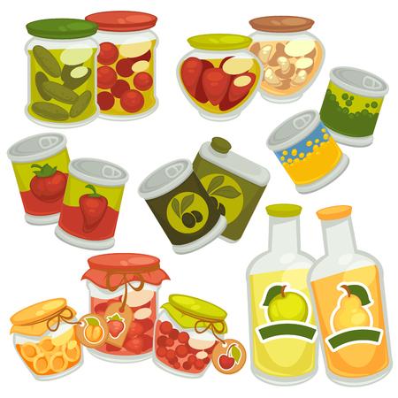 Preserves jam jars, juice bottles, pickles tin cans vector icons