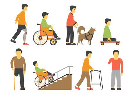Handicapped people with disability limited physical opportunities vector icons Illustration