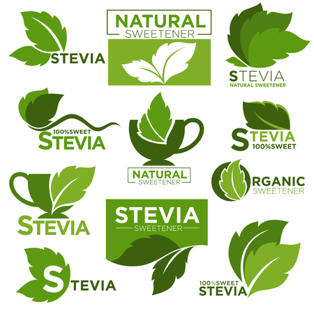 substitute: Stevia sweetener sugar substitute vector healthy product icons and labels