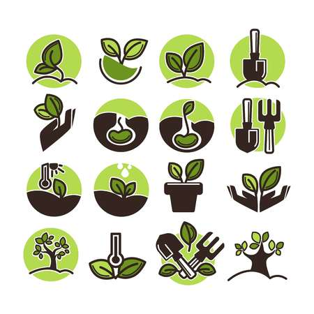 Tree planting and green gardening horticulture vector icons set