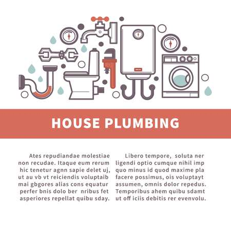 House bathroom and kitchen plumbing vector poster