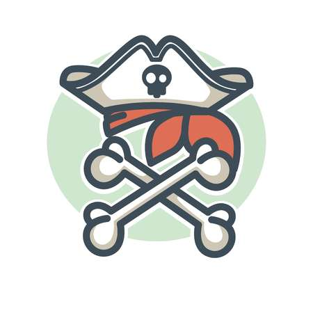 Pirate vector icon flag of crossed bones and tricorne hat botle Illustration