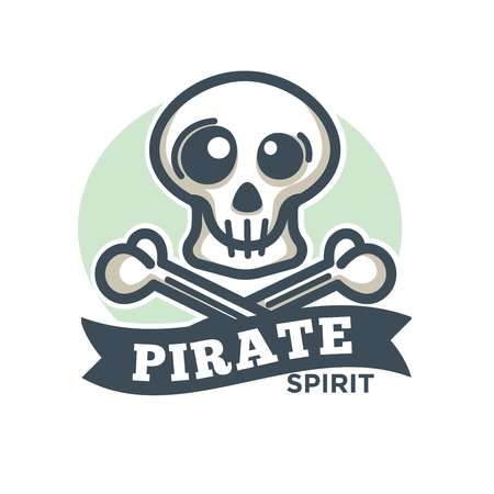 eyepatch: Pirate vector icon of skull and crossed bones